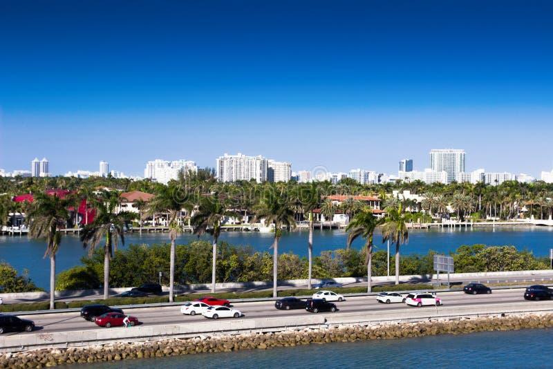 迈阿密,麦克阿瑟堤道,美国,佛罗里达 图库摄影