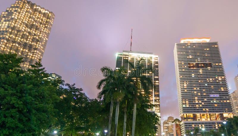 迈阿密- 2016年2月25日:城市地平线和大厦 迈阿密wel 库存照片