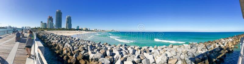 迈阿密- 2016年2月:迈阿密海滩全景从南部的 免版税库存照片