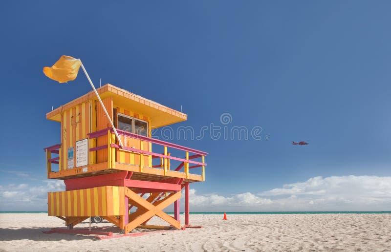 迈阿密Beach佛罗里达,救生员房子 库存照片