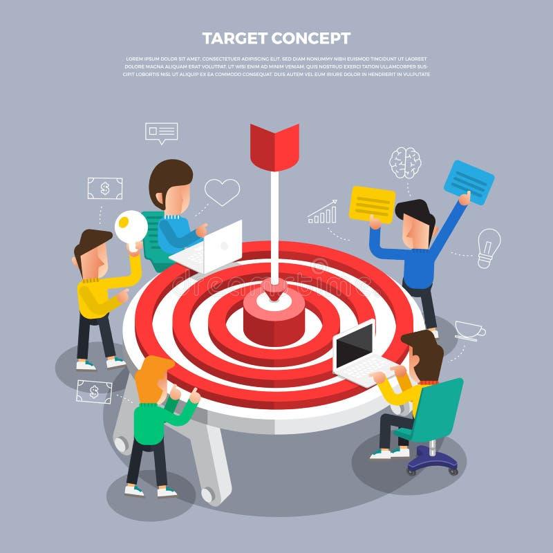 """运作在桌面象""""Target的平的设计观念突发的灵感 向量例证"""