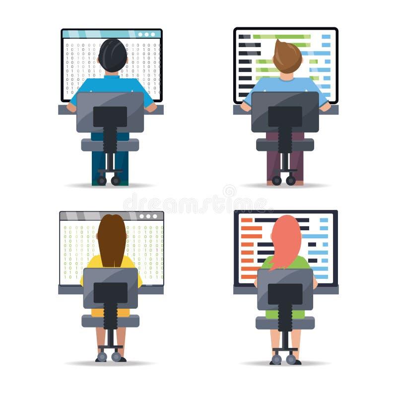 运作在计算机编程编制程序的网络开发商 皇族释放例证