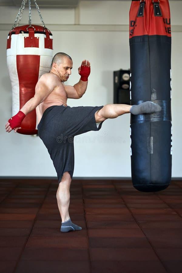 运作在punchbags的Kickbox战斗机 库存图片