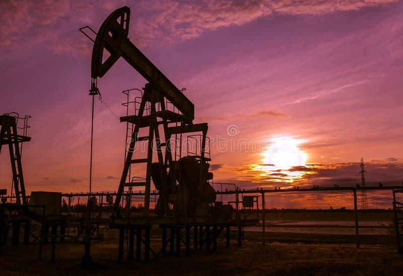 运作的泵浦起重器在油田 日落 图库摄影