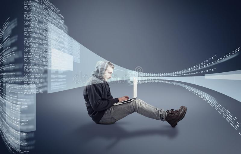 运作的膝上型计算机项目 免版税库存照片