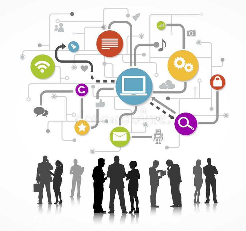 运作网络概念的商人剪影 向量例证