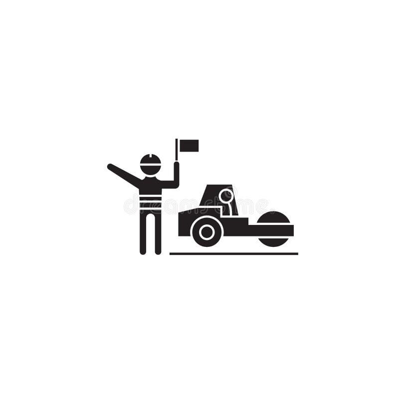 运作黑传染媒介概念象的Roadroller 运作平的例证,标志的Roadroller 库存例证