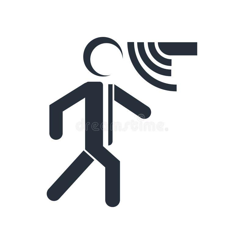 运动传感器象在白色背景和标志隔绝的传染媒介标志,运动传感器商标概念 皇族释放例证