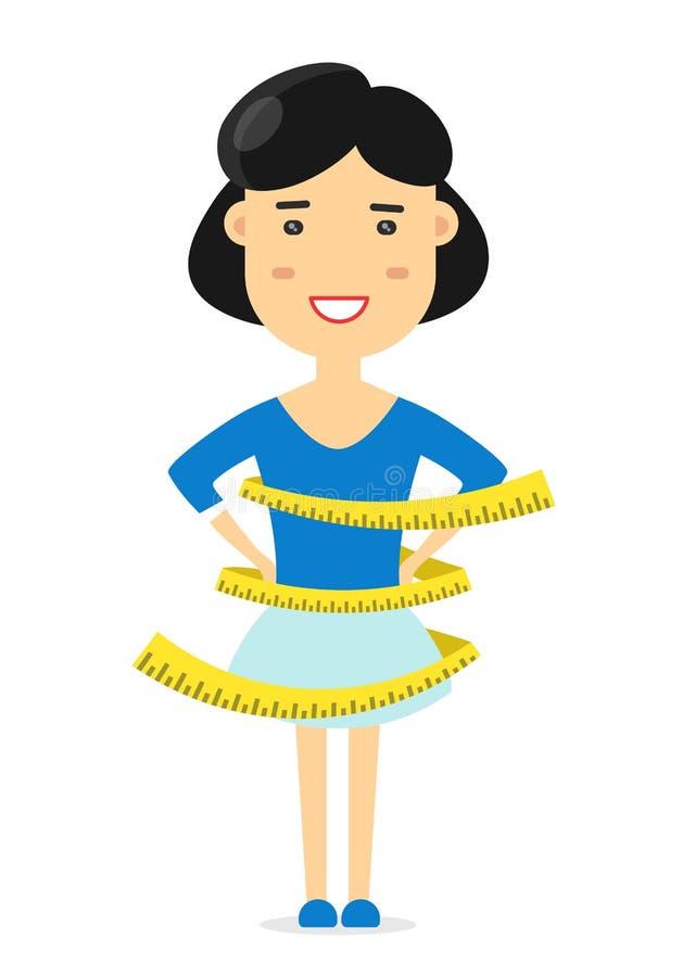 运动修造的妇女测量厘米 库存例证