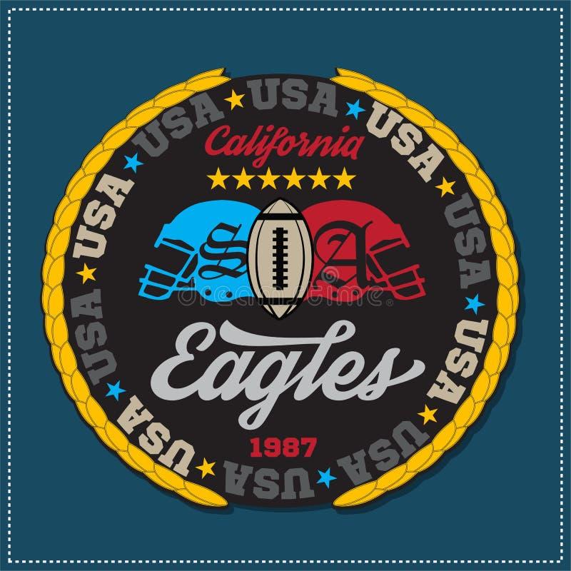 运动冠军学院varcity老鹰乐队橄榄球商标象征 向量图形和印刷术T恤杉设计 库存例证