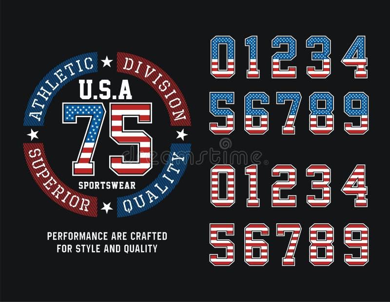 运动分部美国T恤杉图表,传染媒介图象 库存例证