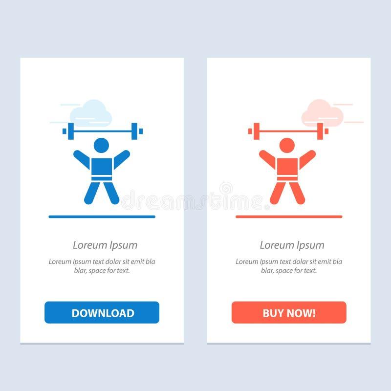 运动员、竞技、具体化、健身、健身房蓝色和红色下载和现在买网装饰物卡片模板 库存例证