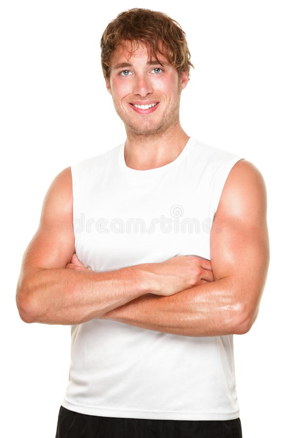 运动员健身人白色 库存图片
