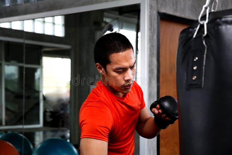 运动员在健身房猛击 把装箱的战斗机训练的男性行动在一个吊袋的在健身房 人拳击手训练是 库存图片