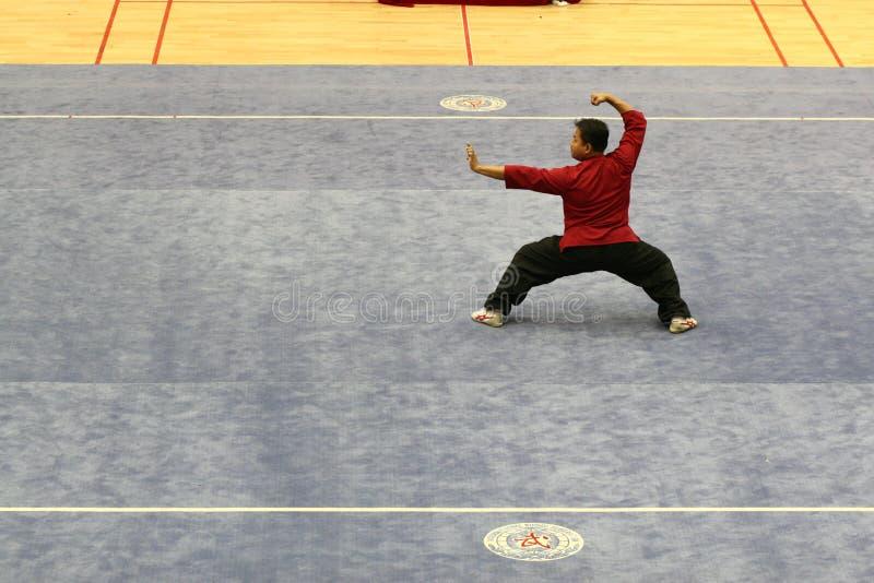 运动员在武术竞争中使用在济南单 库存图片