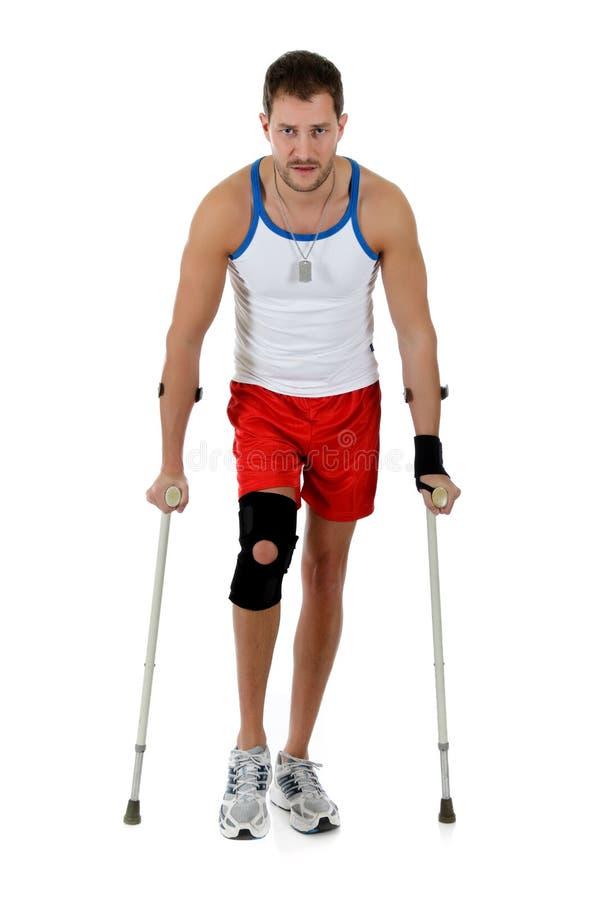 运动员有吸引力的白种人拐杖供以人&# 免版税库存照片