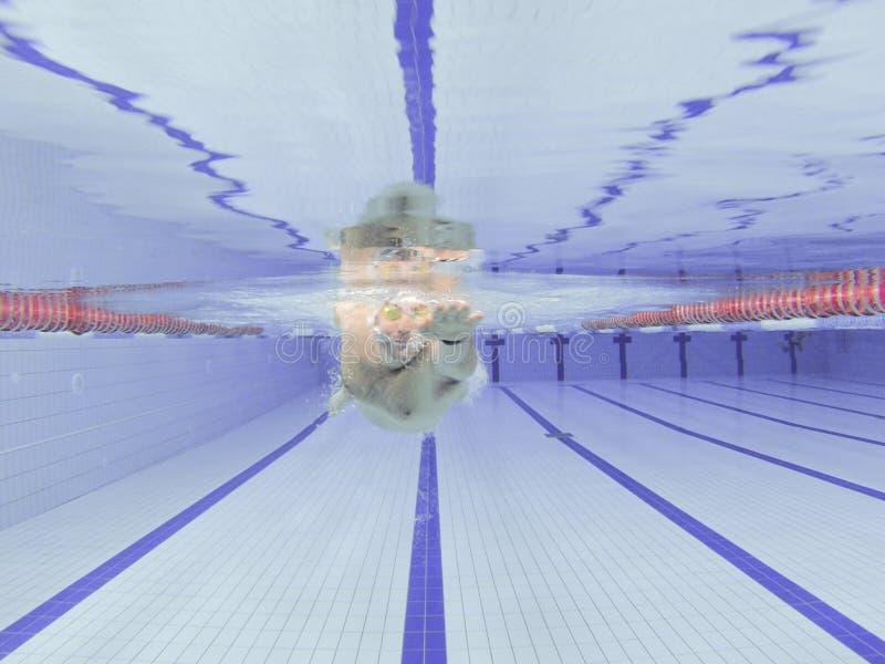 运动员游泳训练 免版税图库摄影