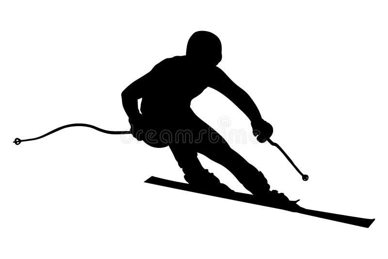 运动员滑雪者超级障碍滑雪 库存例证