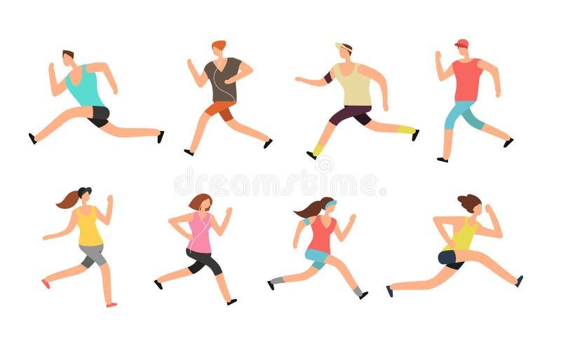 运动员男人和妇女赛跑 在运动服传染媒介集合的精力充沛的人赛跑者
