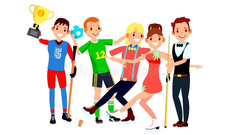 运动员集合传染媒介 人,妇女 曲棍球,手球,花样滑冰,落袋撞球 小组制服的,服装体育人 向量例证