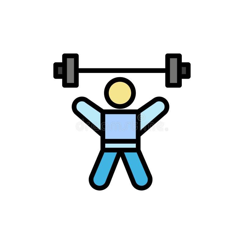 运动员,竞技,具体化,健身,健身房平的颜色象 传染媒介象横幅模板 向量例证