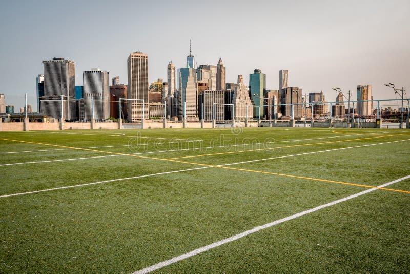 运动场从纽约ckyline 库存图片