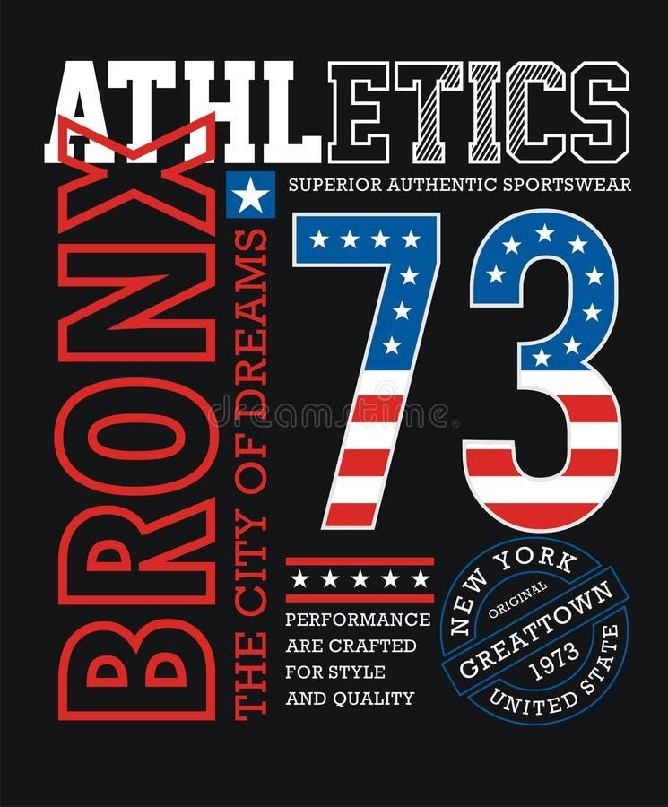 运动布朗克斯T恤杉图表印刷术设计 库存例证