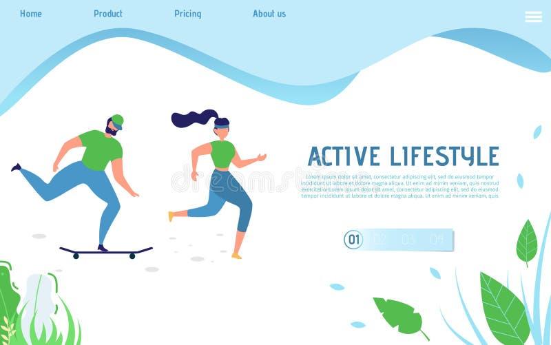 运动的人民的活跃生活方式着陆页 库存例证