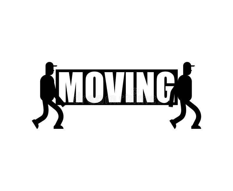运动的服务商标交付标志 两名搬家工人 搬运工运载sym 向量例证