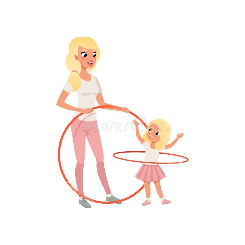 运动的母亲和她逗人喜爱的女儿有hula箍的 获得动画片的妈妈和的孩子乐趣一起 母性概念 库存例证