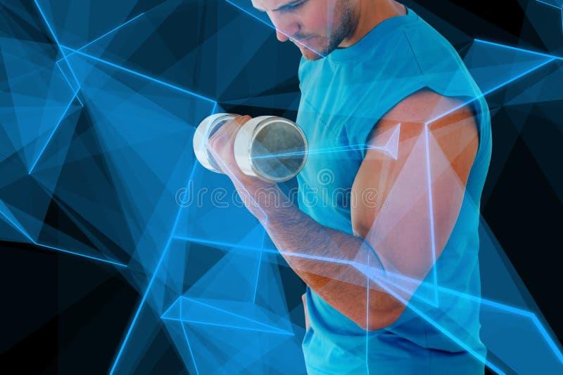 运动的年轻人的综合图象有哑铃的在健身房 免版税库存图片