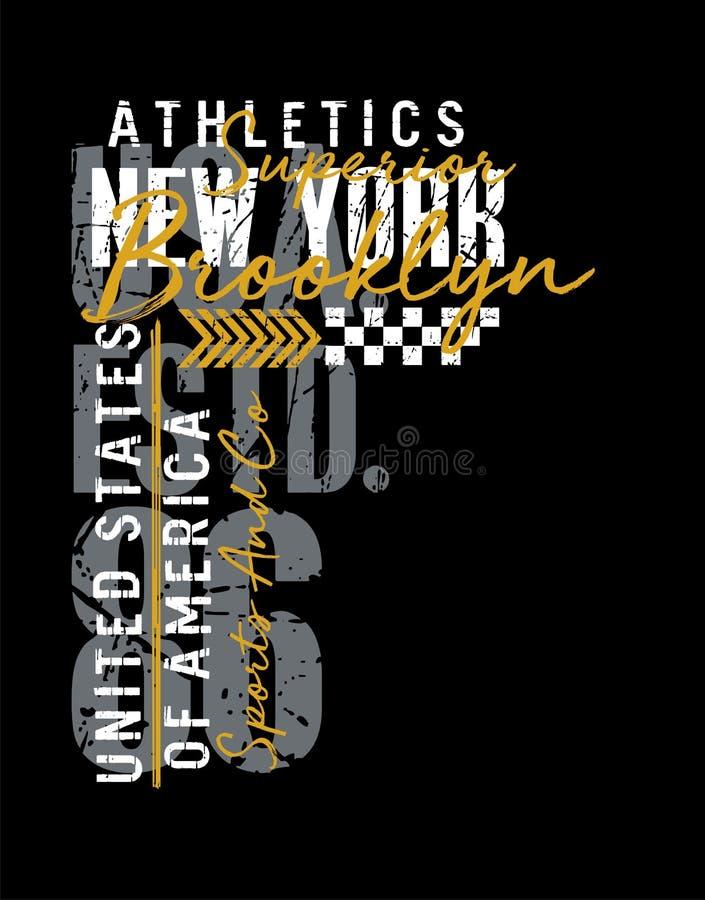 运动纽约印刷术葡萄酒,T恤杉和服装的,象征,导航 库存例证