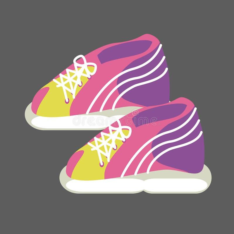 运动鞋明亮的桃红色,黄色和紫色 向量例证