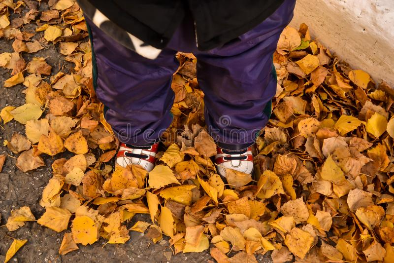 运动鞋站立的小婴孩 免版税库存照片