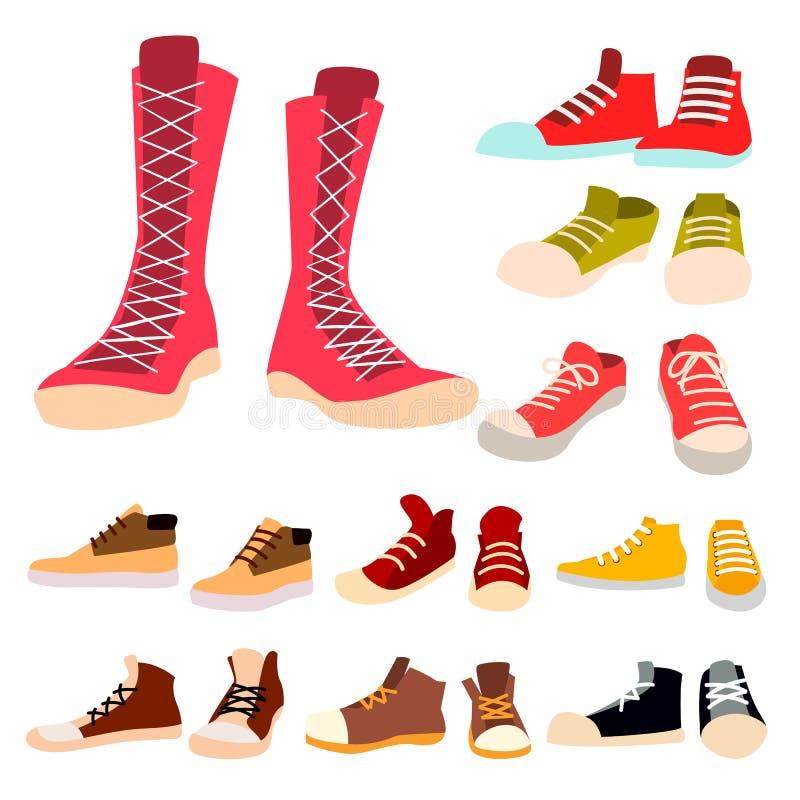 运动鞋被设置的传染媒介 对偶然新的体育鞋类 脚穿戴,鞋子,鞋带 对跑,体育 查出 向量例证