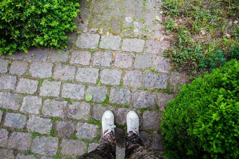 运动鞋鞋子特写镜头在一条被修补的街道上的 免版税库存照片