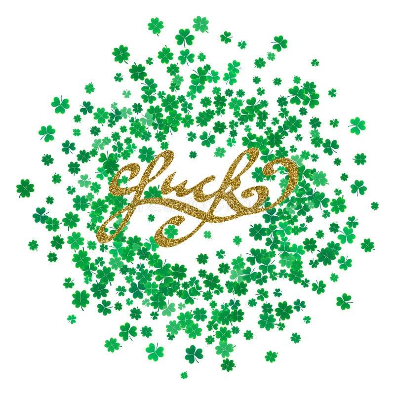 运气-与金子闪烁纹理的手拉的字法 向量例证
