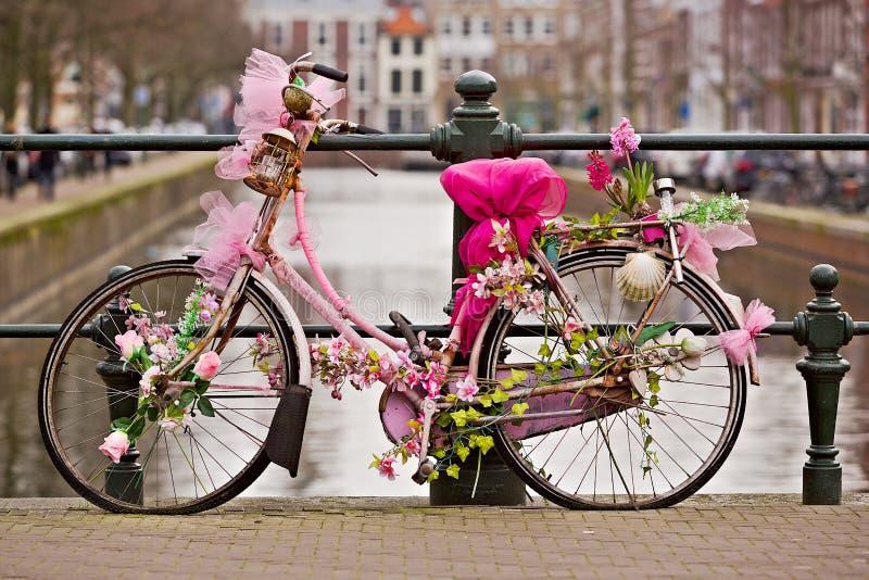 运河上的华丽自行车 库存图片
