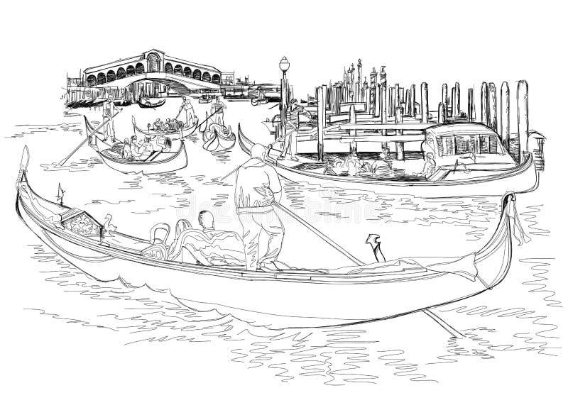 运河全部威尼斯 Rialto桥梁的视图 皇族释放例证