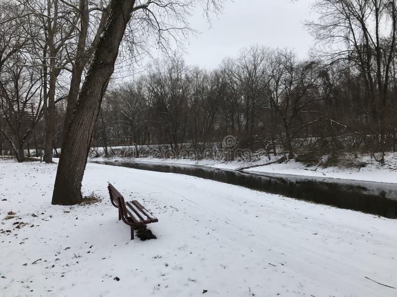 运河公园在冬天 免版税库存照片