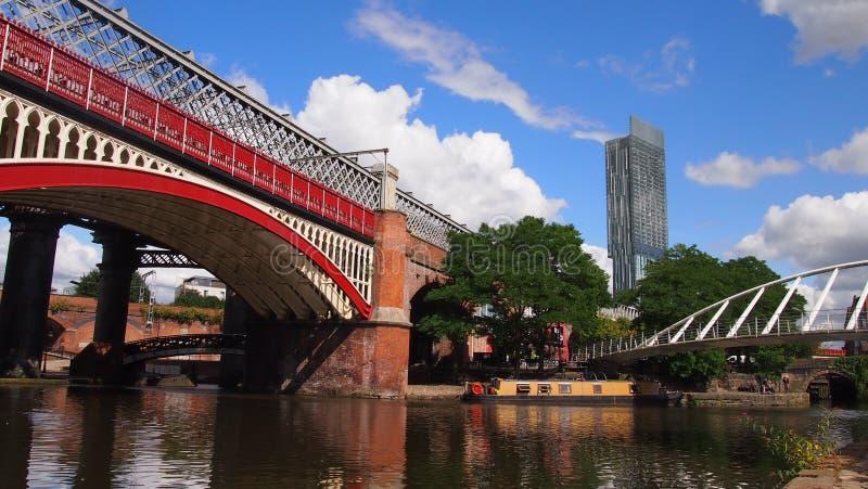 运河在曼彻斯特,英国 库存照片