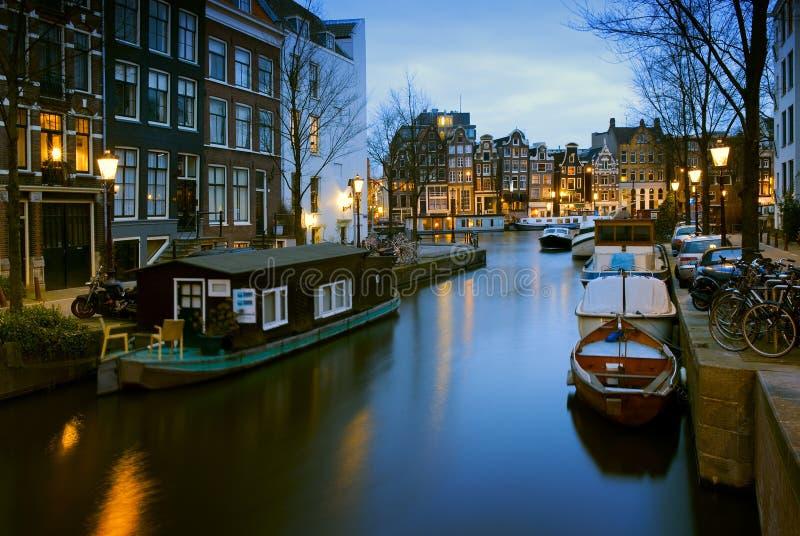 运河场面在阿姆斯特丹,荷兰 库存图片