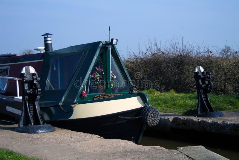 运河帆船附载的大艇 图库摄影