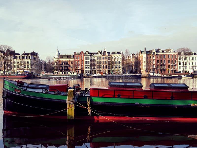 运河船,阿姆斯特丹,荷兰 免版税库存照片