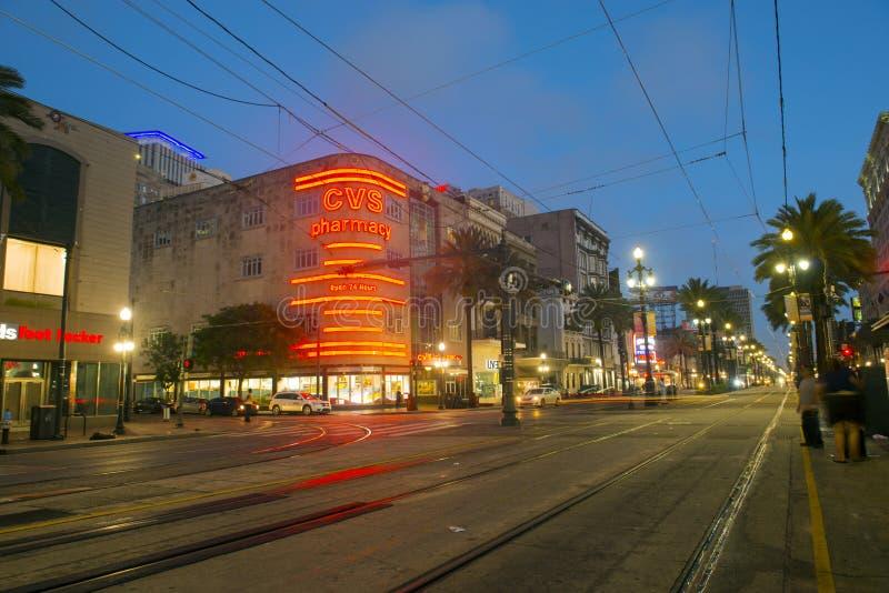 运河街道在街市新奥尔良 免版税库存图片