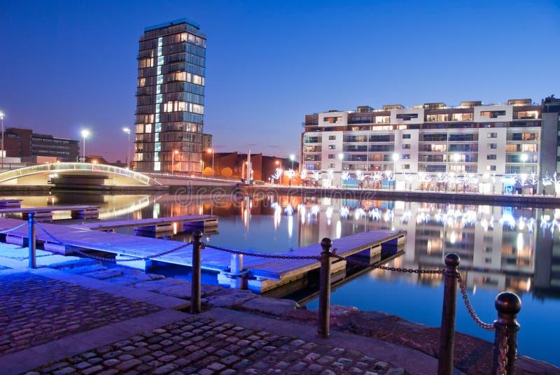 运河靠码头全部 免版税库存照片