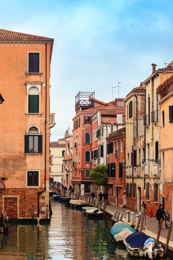 运河Cannaregio在威尼斯,意大利 图库摄影