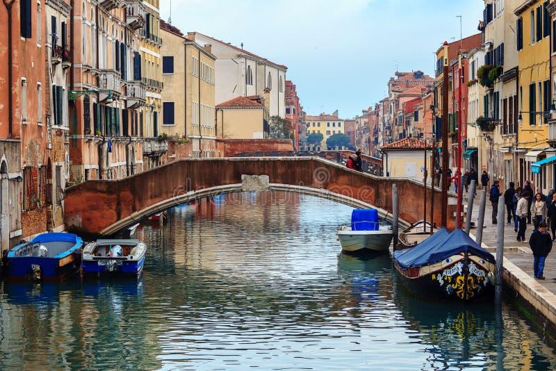 运河Cannaregio在威尼斯,意大利 免版税库存图片
