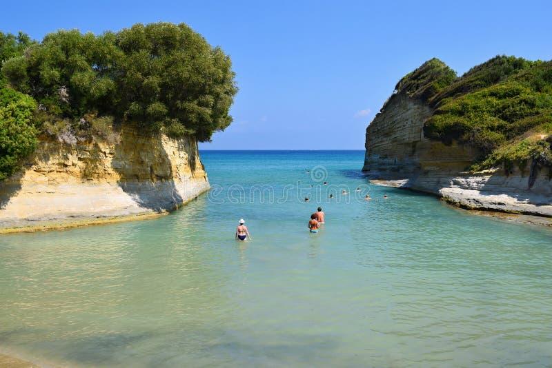 运河D `私通海滩在Sidari,科孚岛海岛,希腊 免版税库存图片