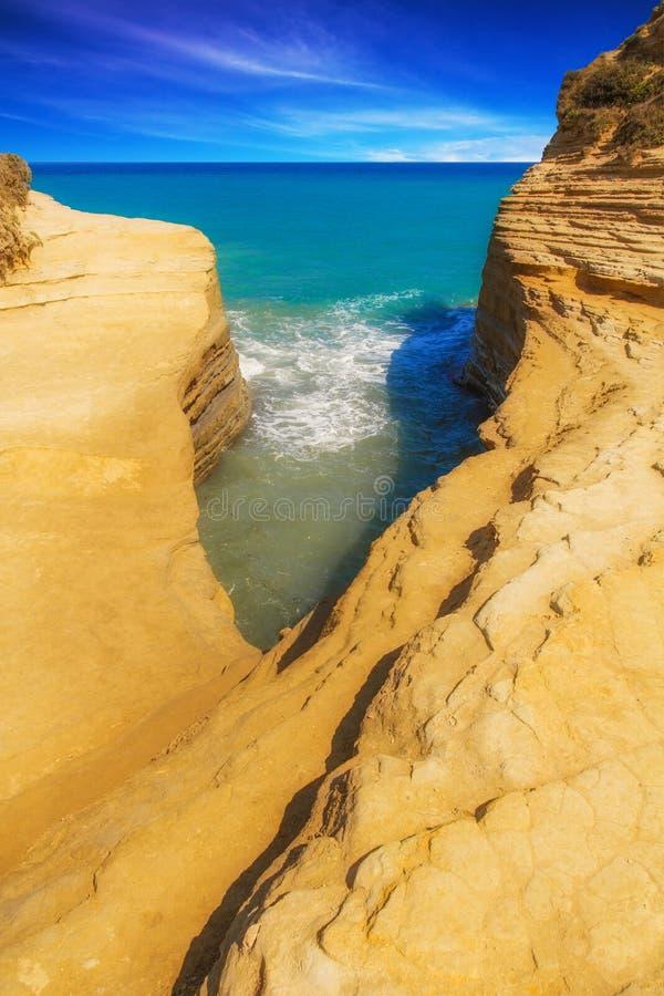 运河D'amour黄色海滩在Sidari,科孚岛晃动 免版税库存照片